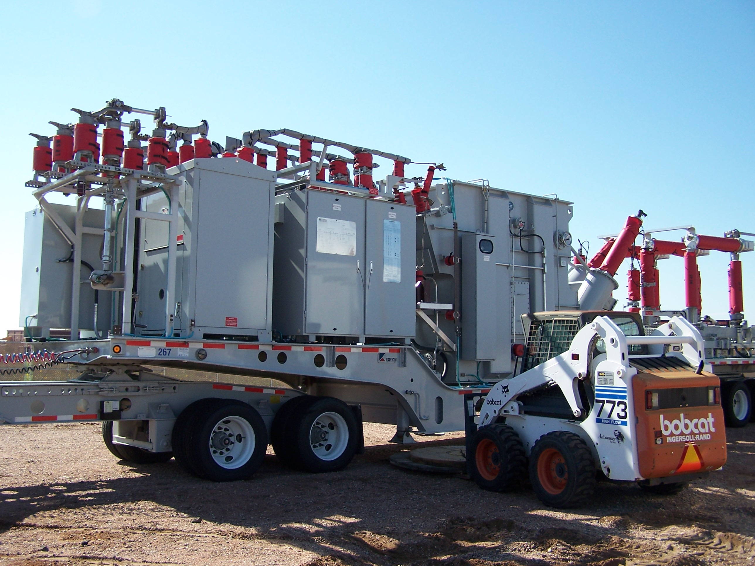 Preparing to set up and move the mobile power substation in an emergency.