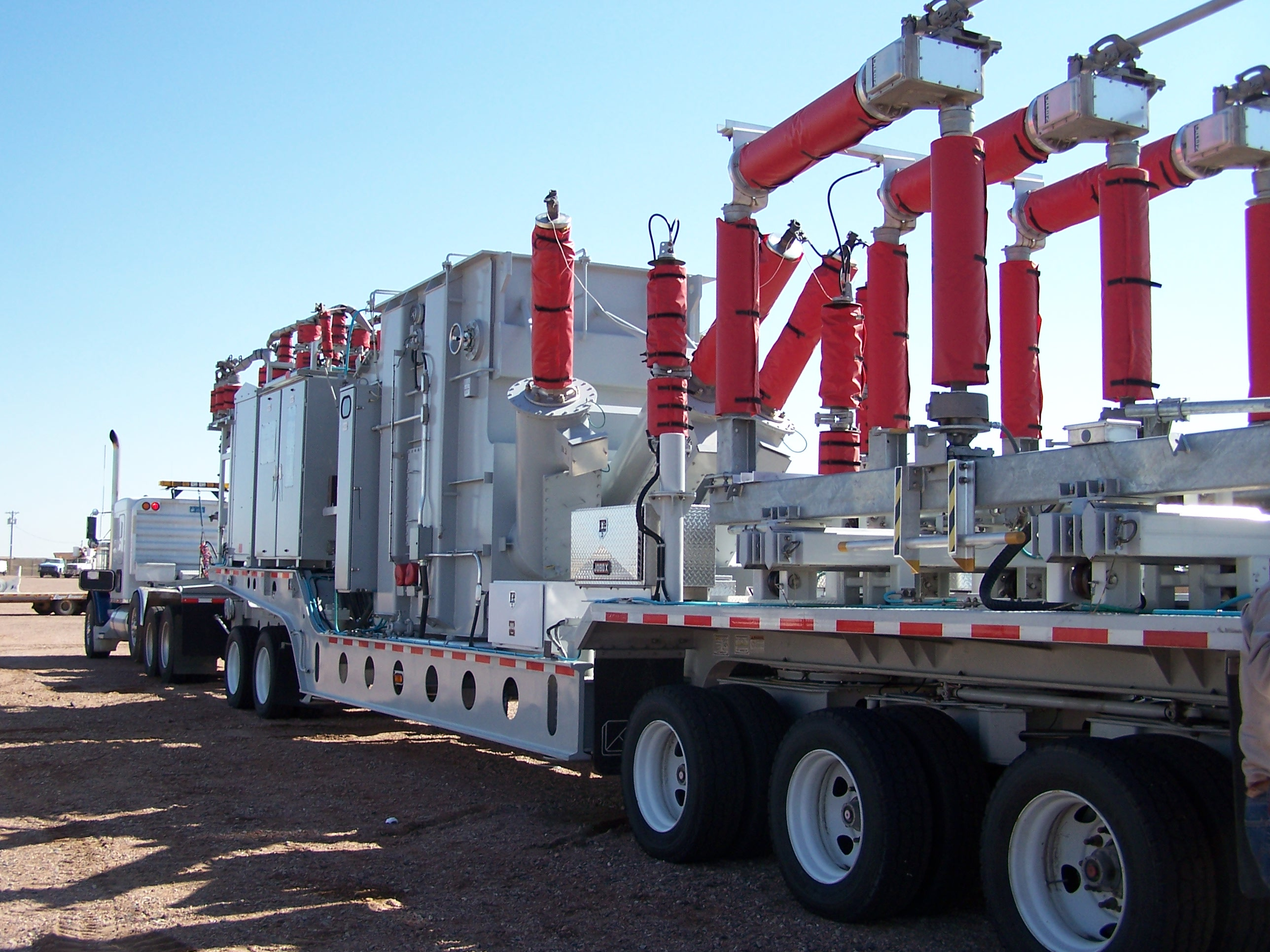 Mobile power substation prepared to deploy in an emergency.
